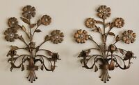 VTG Pair Italian Gold Gilt Tole Metal 3 Arm Floral Candle Wall Sconces 20.5""