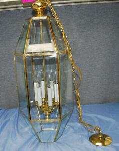 """Brass & Beveled Glass Hanging Chandelier 33"""" High  Vintage 6-Light 1-Tier  L2435"""