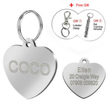 Heart Shape Dog Tags Personalised Pet Cat ID Name Collar Tags Disc Disk Engraved