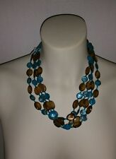 NEW Four Strand BIB STYLE FASHION NECKLACE BROWN& TURQUOISE Laquered SHELLS 18""