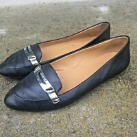 Coach Ruthie Pebble Black Leather Penny Flat Loafer Moc Women Sz 8 Pointy Toe