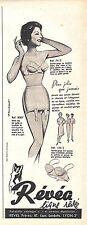 PUBLICITE ADVERTISING 034 1960 REVEA ligne rêvée soutien gorge gaine