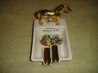 Vintage Souvenir Of Washington DC Gold Horse Ashtray-Courting Pattern-Ceramic