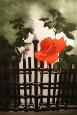 G H Rothe A Last Rose Before the Gate Closes GREEN Hand Signed  Limited Edition