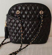 T. joli sac vintage matelassé noir porté épaule en TBE