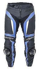 Pantaloni blu in pelle per motociclista