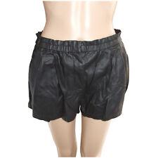 Glassons Womens Shorts Size 10 Black Faux Leather Bubble Pockets