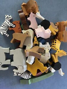 Noah's Ark Wooden Animals, Noah & Mrs Noah And Two Pieces Of Wooden Train