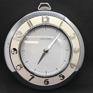 "9"" Art Deco 50's Vintage Modern Clock Thomas O'Brien Stopwatch Chrome White"