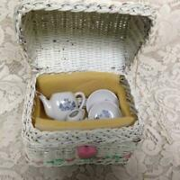 Vintage, Japan, Blue Willow, 8pc Child's Tea Set -  White Wicker Hope Chest