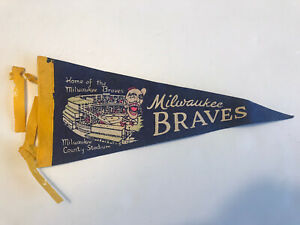 1950's MILWAUKEE BRAVES COUNTY STADIUM MLB PENNANT MINI Hank Aaron Braves