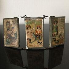 Miroir Triptyque Miniature Poupée Chromo Enfants XIXè 19C VICTORIAN Doll Mirors