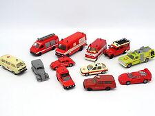 Divers 1/87 HO - Lot de 12 véhicules Pompiers Feuerwehr : Fiat Land Rover Ford