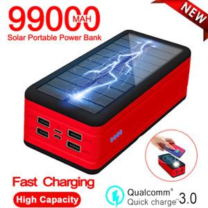 99000mAh Wireless Solar Power Bank External Battery Portable Phone Charger 4 USB