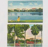 Lot of 2 Vintage Unused Linen Postcards of Mirror Lake, St. Petersburg, Florida