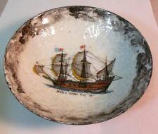 Vtg Enamel on Copper Dish Bowl Drake Golden Hind Ship 1577 Maritime Sea Nautical