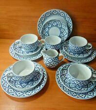 Made in Thailand  5 X trios & cream Jug, Blue & White Pattern Tea Coffee Cups