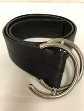 Authentic Prada Belt  Black 2170  Leather with Wrap Silver Buckle    Size 30/32