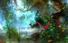 "Peacocks Fantasy Woodland Feather Birds 20""x30"" Canvas Picture Wall Art Print"