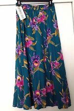 "California Krush Ladies Teal Floral Skirt Size M- 80% Rayon/20% Cotton -34"" Long"