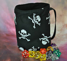 Pirate Dice Bag skull Large fully lined handmade for dice, tiles or cards