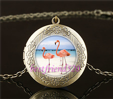 Vintage Flamingo Bird Cabochon Glass Brass Locket Pendant Necklace
