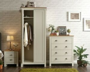 Stylish 3Piece Bedroom Set Wardrobe Chest of Drawers Bedside Cream or Grey Sleek