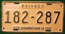 Old Photo. 1981 Dominican Republic First Semester Private Vehicle License Plate