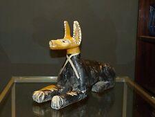 sitzende Figur ägyptischer Hund (Anubis?) aus Holz L44cm  H32cm handarbeit