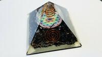7 Chakra Orgon Orgonit Pyramide Turmalin schwarz mit Spirale