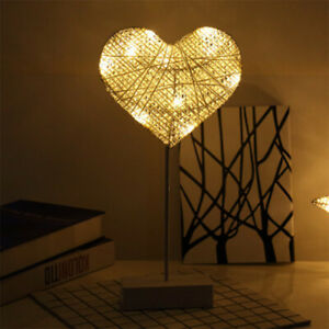 Wooden Rattan Atmosphere Night Light Control Gift For Christmas Valentine's Day