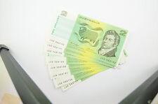 Australian Two Dollars 8 Consecutive Banknotes OCR-B Side Knight/Wheeler - $2 EF