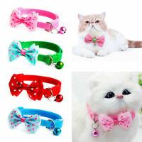 Pet Dog Cat Bowknot Bow Tie Bell Adjustable Puppy Kitten Necktie Cute Collar aa