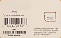 Sprint SIM Card - SIMGLW216R / CZ2112LWR