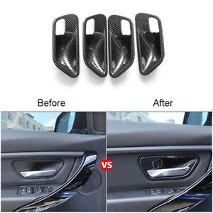 4Pcs Carbon Fiber Interior Door Bowl Decorative Trim Cover For BMW 3 Series F30