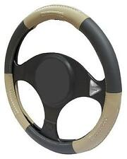 TAN/BLACK/BEIGE LEATHER Steering Wheel Cover 100% Leather M17/5