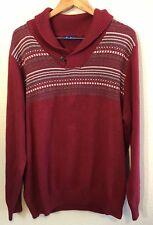 Alan Flusser Mens Cowl Neck Red Sweater Size XXL