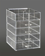 4 Drawer Clear Beauty Organizer Storage Case With Lid, GlamoureBox Makeup Cube