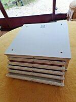Ancien petit meuble 6 tiroirs-médailler vintage mélaminé blanc-casier de métier