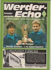 Orig.PRG    DFB Pokal  1989/90  FINALE   WERDER BREMEN - 1.FC KAISERSLAUTERN  !!