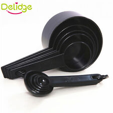 10 Measuring Spoons Black Plastic Foldable Cups Scoop Set Tool For Baking Coffee