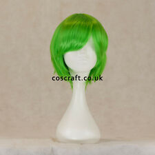 Short layered cosplay wig with fringe in lime green, UK seller, Prince style