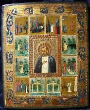 RAR! icona russa del sacro Seraphim di Sarow con scene di vita 19jh.