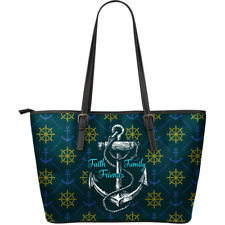 Sea Sailor Navy - Faith Family Friends - Leather Tote Bag Christmas Gift