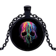 Vintage Melting Skull Black Cabochon Glass Necklace chain Pendant