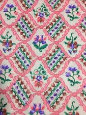 Vintage Mutli Color Floral Print Apparel Fabric Material Polyester Blend 2 yds