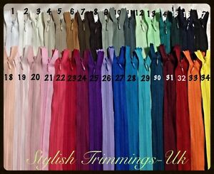 """Concealed Invisible  Zips 22""""(56 cm)Assorted Colours Premium Quality-UK"""