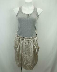 Brunello Cucinelli Tank Silk Dress Made in Italy Gray & Cream Women's Medium