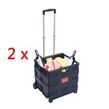 2x Einkaufswagen 45L 35KG Einkaufstrolley Klappbar Einkaufshilfe Roller Korbe