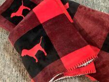 Victoria's Secret Pink Plaid Sherpa Cozy Plush Blanket Buffalo Red Dog 50 x 60